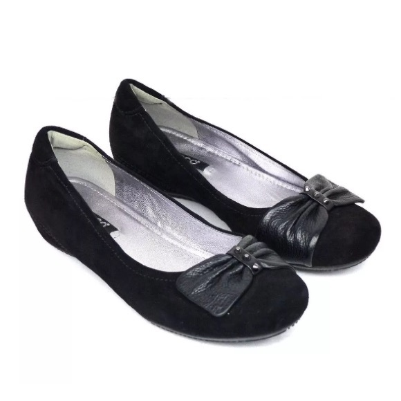 a5206851 Ecco Bouillon Bow Leather Suede Hidden Wedge Flats